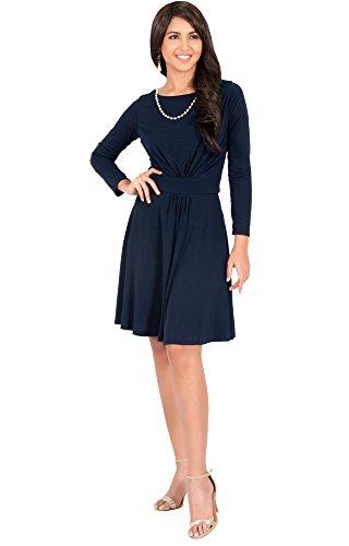 KOH KOH® Plus Size Damen Rund-Ausschnitt Langarm Midikleid Rüschen Knielang Cocktail Kleid, Farbe Marineblau, Größe XL / Extra Large (4) (Plus Size Kostüme Clearance)