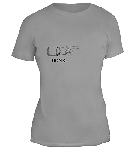 Mesdames T-Shirt avec Funny Honk Sign With Pointing Hand Illustration imprimé. Gris