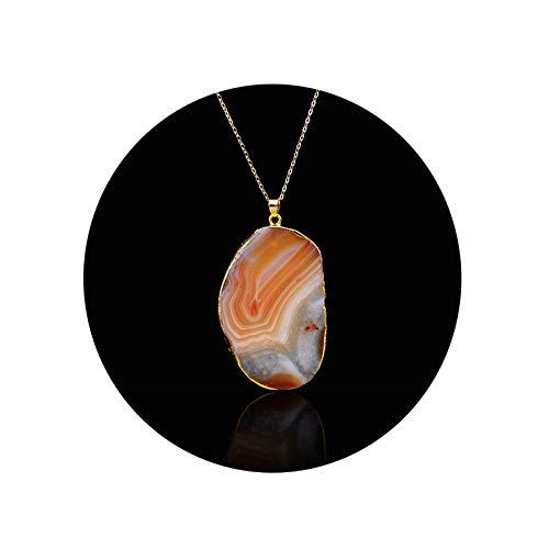 Blisfille Kette Gold Vintage Halsband Damen Kette Vergoldet Unregelmäßige Geometrie Kristall Natürliche Quarz Amulett