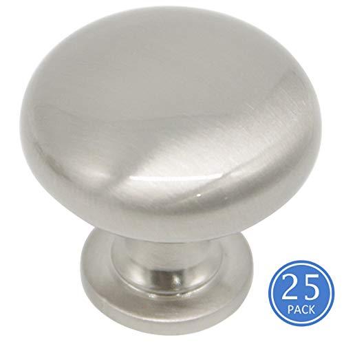 3910rund Schrank zieht Knöpfe gebürstetem Nickel-Finish Schublade 1-1/10,2cm Durchmesser Küche Schrank Hardware Knauf 25 Pack Single Hole Cabinet Knob -
