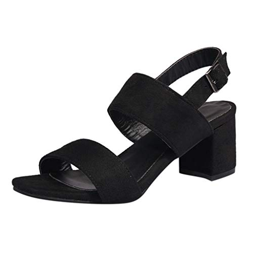 iLPM5 Damen Klassische Blockabsatz Sandalen Einfarbig Wildleder Open Toe Knöchel Schnalle Sandalen Elegante Party Schuhe(Schwarz,38) Tan Peep Toe Pumps
