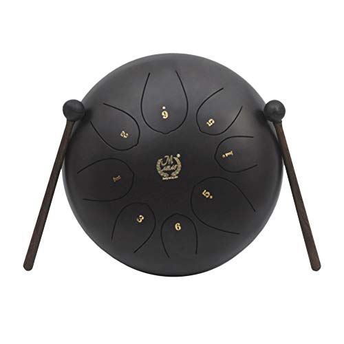 Healifty Mini Steel Tongue Drum 8 Note 10 pulgadas Instrumento de percusión con Musical Mallet para meditación Yoga Zen Music Therapy Camping (Negro)