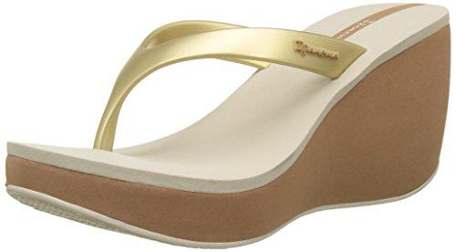 Ipanema Lipstick Tong V Fem, Sandales Plateforme Femme Beige (Beige/Gold)