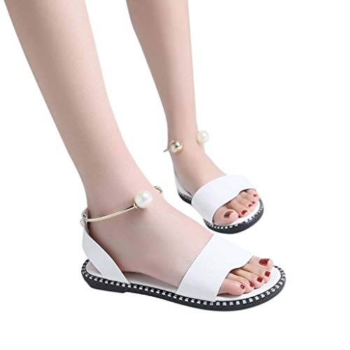Frauen One Band Flache Sandalen Open Toe Slip on Knöchelriemen mit Pearl Slingback Sommer Casual Sandale Schuhe 5-zoll-clear-mule