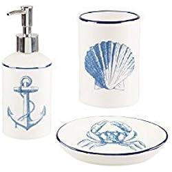 Vintage conjunto de 3 Baño Accesorios Náuticos elegante costera Mar Decoración del hogar