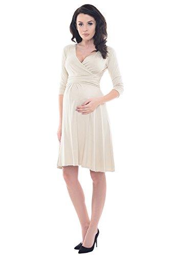 Purpless Maternity V-Ausschnitt 3/4 Arm Schwangerschaft Kleid D4400 Beige