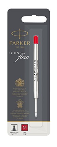 Dle Store Parker Quinkflow Ball Pen Refill Medium Nib, Red