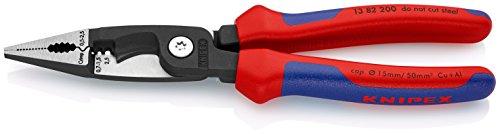 KNIPEX 13 82 200 Elektro-Installationszange schwarz atramentiert mit Mehrkomponenten-Hüllen 200 mm