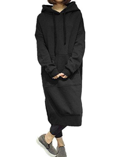 StyleDome Women's Hoodies Jumper Long Tops Coat Plus Size Pullover Sweatshirt Loose Casual Maxi Dress