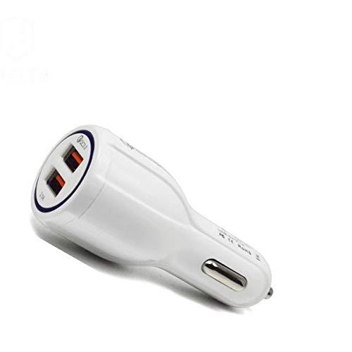 Caricabatterie per auto a carica rapida QC 3.0 caricabatteria da auto Dual USB 5.2 A uno trascinare due caricabatterie per telefono auto bianco