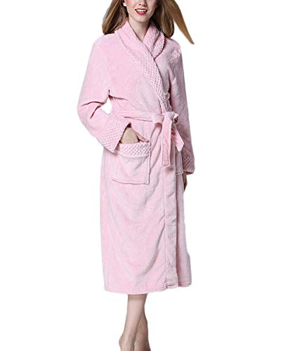 Bata Albornoz,Super Suave-Manga Larga-Coral De Forro-Tamaño Grande Robe de Disfraz para Unisex Hombre Mujer Pink S