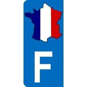 Autocollant avec carte de France et lettre F partie gauche plaque immatriculation Auto (9,8 x 4,5 cm)