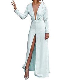 TOOGOO Vestido Maxi De Division De V Cuello Profundo De Manga Larga De Mujer  Sexy Nuevo de6f70a29640
