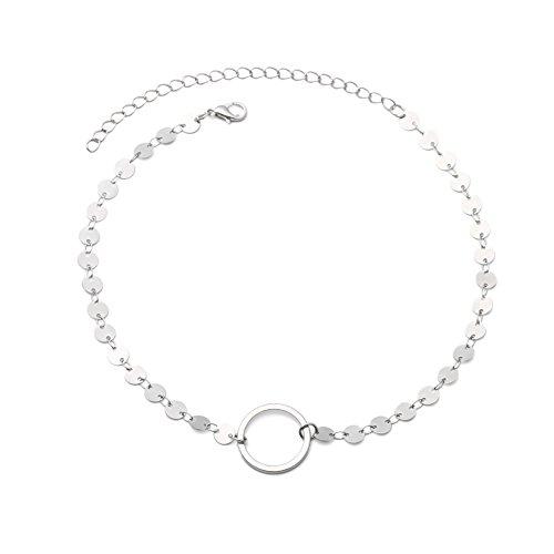 Sanwood 1 einfacher Kreis Single Kette Oberarm Armband Lady Schmuck Party Geschenk, Kupfer, silber, Schmal