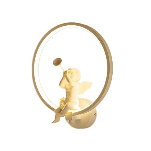 LF stores Wandleuchte Nordic Kreative Ring Engel Trompete Wandleuchte Schlafzimmer Nachttischlampe Gang Hintergrund Wand Kinderzimmer Wohnzimmer Lampe Innenbeleuchtung (Color : White, Größe : A) -
