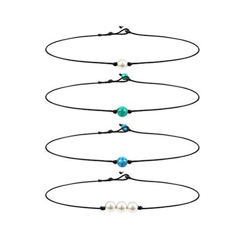 TENDYCOCO 4 Stücke Lederband Halskette Einzelne Perle Türkische Stein Charme Chocker Freundschaft Schwester Halskette Schmuck Giftfor Frauen Mädchen