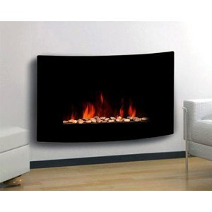 TruFlame 1.8kW Black Curved Glass Screen Wall Mounted Fireplace with Pebbles