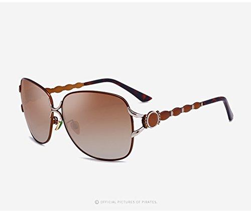 DING-GLASSES Sonnenbrille Casual Travel Sonnenbrillen Fashion Driving Sonnenbrillen Vintage Large Sun Polaroid Sonnenbrille Goggles UV400 Spiegel for Frauen im Freien (Color : Tea)