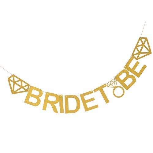 Baoblaze Glitzerpapier Wimpelgirlande Wimpelkette Girlande Kette Banner Girlande mit Braut zu Sein Design - Gold