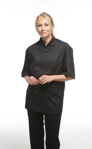 dennys-womens-ladies-economy-short-sleeve-chefs-jacket-chefswear-xs-black