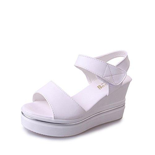 Dames coréenne casual polyvalent sandales en été/Peep-toe Velcro haute coins sandales A