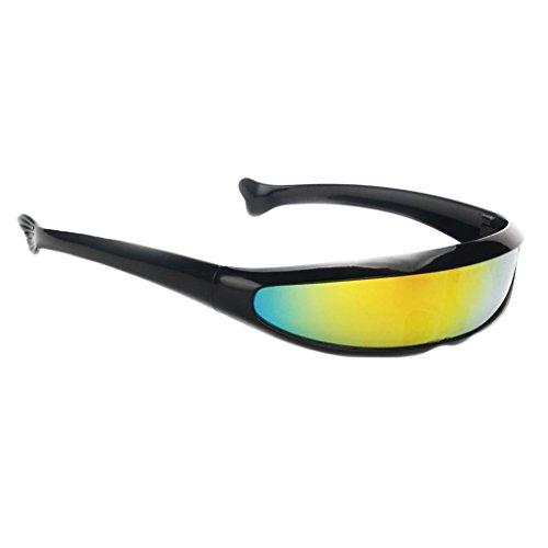 MagiDeal Futuristische Schmale Cyclops Farbe Verspiegelte Linse Visor Sonnenbrille - Schwarz Gelb