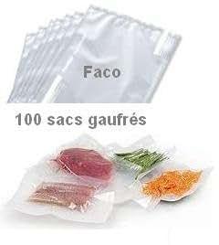 FACO 100 Sacs sous vide 20x30cm