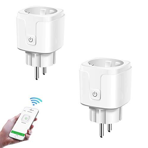 Carantee WLAN Smart Steckdose, Mini Intelligente Plug WiFi Stecker, Timing-Funktion, Fernbedienung über APP-Bedienung, Kompatibel mit Amazon Alexa [Echo, Echo Dot], Google Home(Nur 2.4GHz)-2 Packs