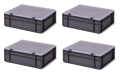 4 Stk. Transport-Stapelkasten mit transparentem Deckel TK412-TD, grau, 400x300x131 mm (LxBxH), aus PP, Volumen: 10 Liter, Traglast: 30 kg, lebensmittelecht, made in Germany, Industriequalität