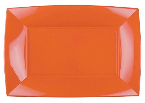 6 Rechteckteller • ORANGE • 345x230 mm • Einwegteller als Mehrwegteller verwendbar • stabile Plastik-Platte • hochwertige Servierplatte • Servier-Teller • Plastikteller • Plastikgeschirr PP (orange)