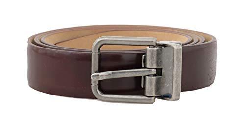 Dolce & Gabbana Herren Gürtel (Dolce & Gabbana - Herren Gürtel - Men Belt - Bordeaux Leather Gray Buckle Belt - Size: 95cm)