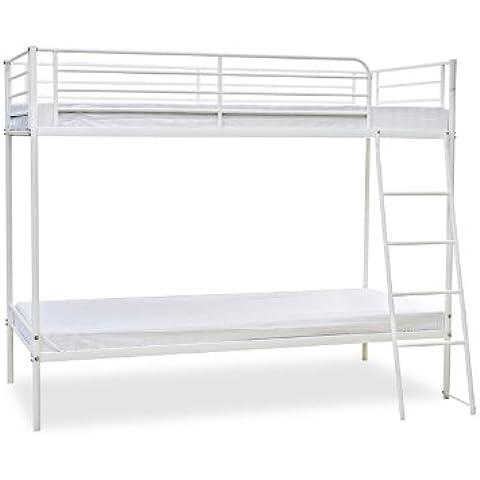 Humza Amani Torquay litera con marco de Metal economía gama de precios 2, para cama individual, 91,44 cm, 160 x 198 x 128 cm, blanco