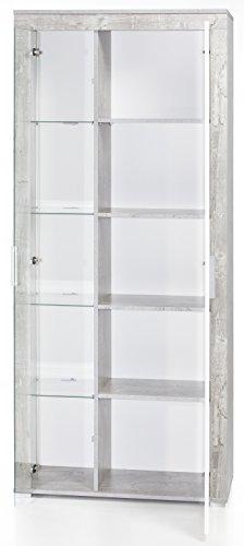 6.6.5.6.2956: made in BRD – Serie AWBW – schöne Standvitrine in weiss-grau gescheckt dekor – Glasvitrine – Vitrinenschrank weiss-grau gescheckt dekor - 3