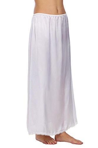 Untlet Damen Satin Lingerie Dessous Lang Rock mit Spitzensaum Unterrock Einfarbig Weiß
