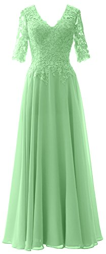 MACloth Elegant Half Sleeves Mother of Bride Dress V Neck Evening Formal Gown Menthe