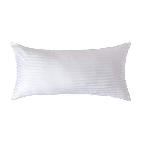 Homescapes Kissenbezug 40 x 80 cm weiß - 100% Reine ägyptische Baumwolle Fadendichte 330 mit Satin-Streifen - Kissenhülle mit Reißverschluss -