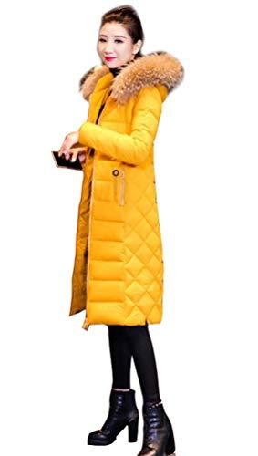 Doudoune Longue Manteau Femme Zippé Amincissant épais Chaud avec Col Fourrure Comfortable avec Capuche Longue Parka Blouson Grande Taille