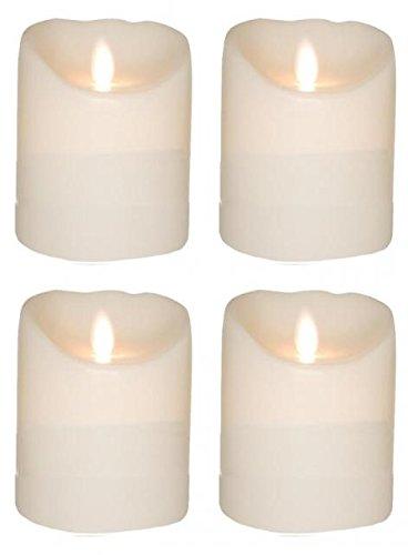Juego de 4SOMPEX 10cm blanco, corona de Adviento velas LED de cera de velas