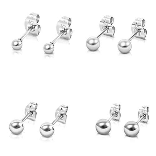 DTPsilver -Damen - Ohrringe 925 Sterling Silber Kugel Set Paare 4 Ohrstecker 3 mm , 4 mm , 5 mm , 6 mm