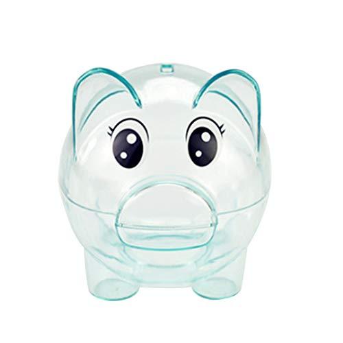 LIOOBO Sparschwein Kunststoff Transparent Geld Sparen Box Cartoon Münzen Box Schwein Geformt Münzfach für Kinder Geburtstag Party Geschenke (blau)