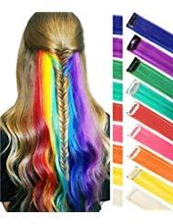 Estensioni per capelli arcobaleno Colorato Evidenziazioni per capelli dritto Extension Clip In / On per bambole e bambole Costume per parrucca 9 pezzi