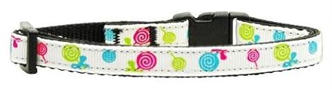 Mirage Pet Products 125-018 CTWT Lollipops Nylon Ribbon White Collar Cat s-curit-