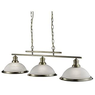 Searchlight Bistro 3 Bar Ceiling Pendant Light (antique brass, 2683-3AB)