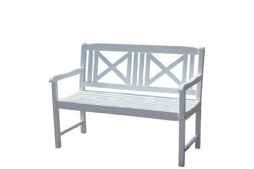 Brema Bank 'Madrid', 2-Sitzer, aus Akazienholz, 120x62x89cm, weiß