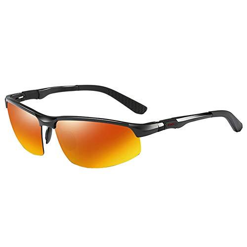 COLOMAX Sonnenbrille Sportbrille Laufbrille Polarisiert UV 400 Schutz Fitness Sport (Schwarz/Orange)