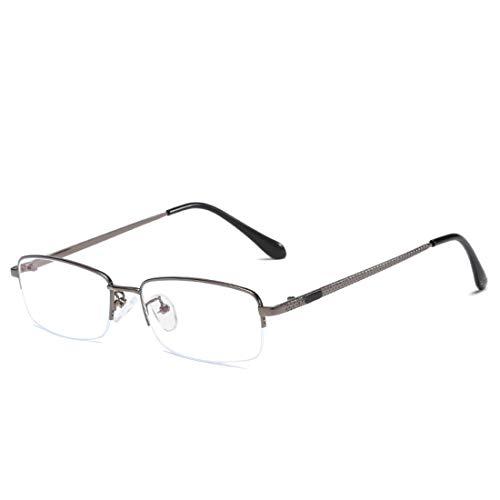 Klerokoh Anti-Blaulicht Halbbild Herren Business Metall Brillengestell für Damen Herren (Color : Gun Color)