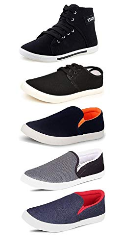 Tempo Men's Synthetic Combo Of 5 Synthetic Shoes - 3 Loafers & 2 Sneakers - Multicolor (8)