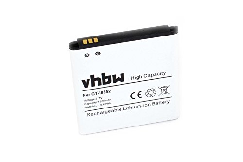 vhbw Li-Ion Akku 1800mAh (3.7V) für Handy Smartphone Telefon Samsung Galaxy Win Duos GT-i8550, GT-i8552, GT-i8550L, GT-i8558 Wie EEB585157VK.