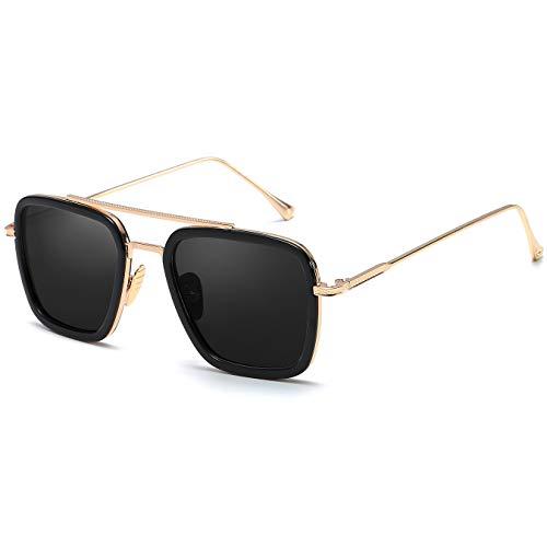 SHEEN KELLY Luxus Retro Sonnenbrille Tony Stark Brillen Quadratische Metallrahmen für Männer Frauen Klassiker Sonnenbrille Piloten Gold Schwarz Linsen