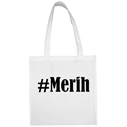 Tasche#Merih Größe 38x42 Farbe Weiss Druck Schwarz